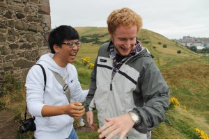 James Kang ('14 and Molecular Biology major,) and Chris Helwig ('14 and History major,) peering off a very tall cliff!