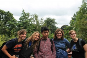 Alex Lincoln (Biology major,) Miriam Kae (Linguistics major,) Johnny Huynh (Mathematical Economics major,) Jessie Schroeder (Computer Science major,) and Lori Beck (Biology major) in the botanical gardens of New Town!