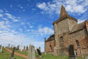 A church and graveyard at the end of our 2-mile hike on the coast of Fife