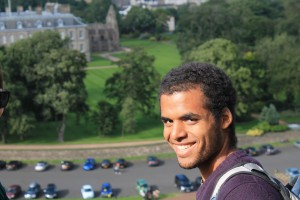 LaMarcus Ford II, '14 and Biology major, admiring a view of Edinburgh