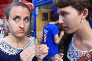 Lindsey Meyer, '14 and Neuroscience major, and I, moments after our first bites of the deep-fried Mars Bar