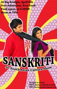 This is the poster for Sanskriti, a South Asian Cultural Show!