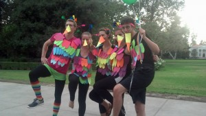 The fearless Yosemite OA leaders (dressed as the bird from the movie Up)