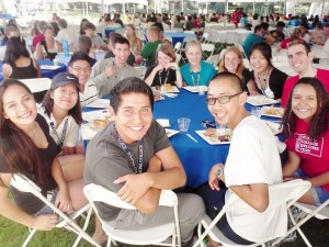 A picture of my sponsor group at our first dinner on move-in day. Photo credit to Sergio Rodriguez (PO '16).