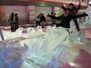 Having fun at the Sapporo Snow Festival.