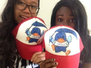 My roommate and I with our personalized Baby Cecil the Sagehen hats!