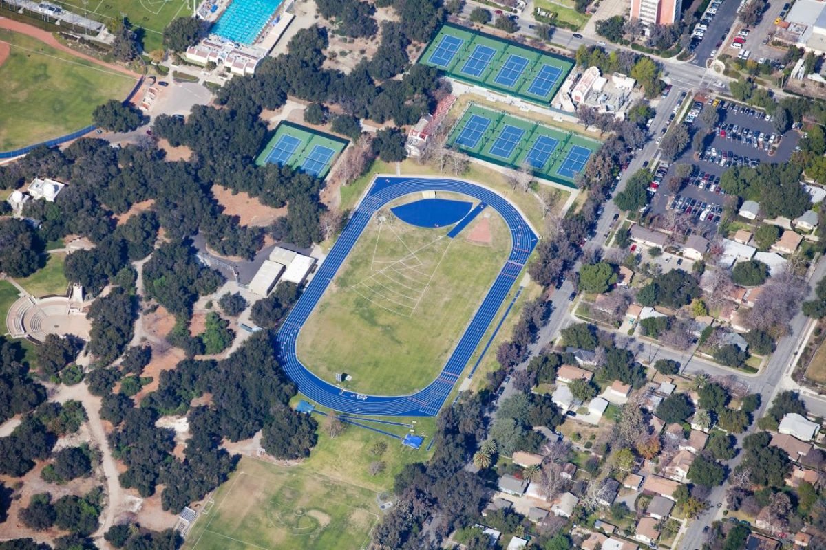 An aerial view of Strehle Track and the field where my Ultimate Frisbee class took place!