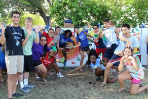 My sponsor group at the Walker Wall painting during Orientation Week!