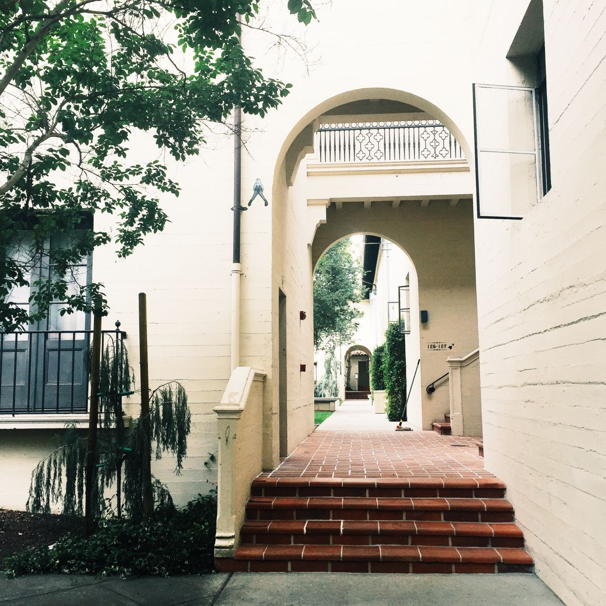 A snippet of Spanish Colonial Revival architecture.