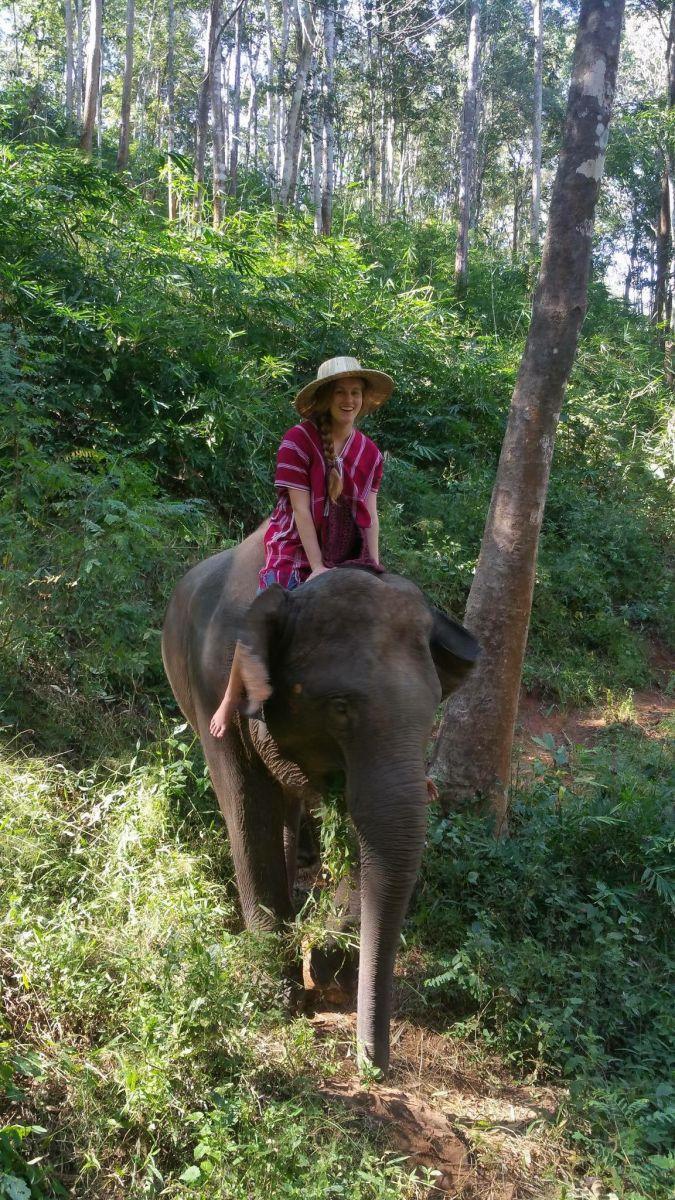 Kyra rides an elephant!