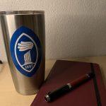coffee mug and journal