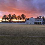 Sunset behind Scripps' Fieldhouse