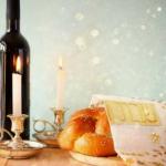 sabbath candles, wine and challah