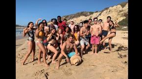 Sophia's sponsor group at beach