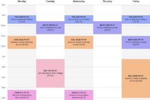Chris's weekly schedule