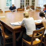 students around seminar table