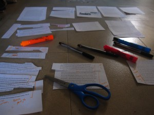 Thesis work, on the floor