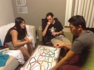 Abusing Ticket to Ride in our dorm room. It gives a more prolonged kick as compared to Settlers.