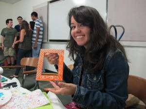 Cristina Saldana (Po'15) making crafts at a The Saturday Group event, back in freshmen year.