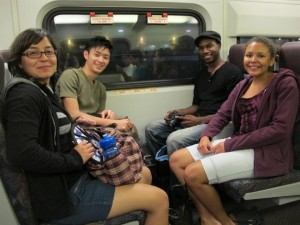 Freshmen eagerly taking the Metrolink for the first time, circa 2011