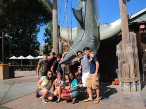 Here, we see a group of tourists at Universal Studios