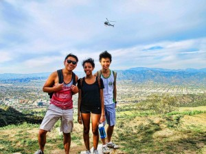 Hiking near Griffith Park, where we saw two of the landmark sights of Los Angeles: the Hollywood Sign, and police helicopters