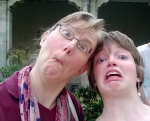 The dignified Professor Lovell poses for a selfie with her daughter at Family Weekend 2014