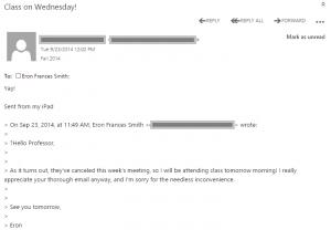 A screenshot of my professor's email