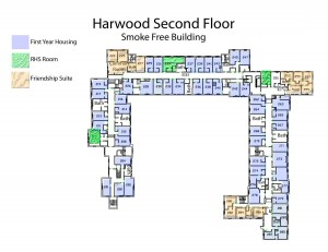 An example of a floor map with different kinds of housing options