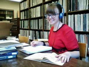 Studying in the music library (before my headphones malfunctioned)