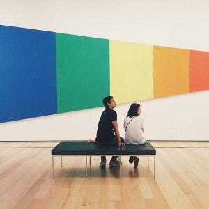 Making conversation with strangers at the Museum of Fine Arts.