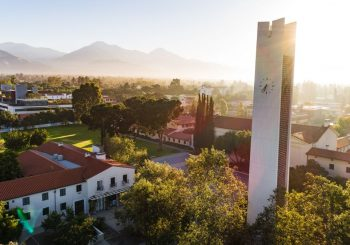 drone shot of campus