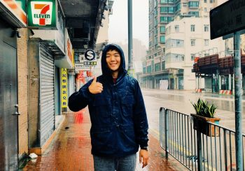 David Song in rain in Hong Kong