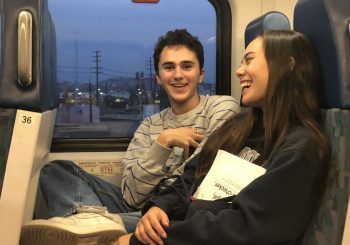 two friends on the train