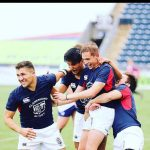 rugby players celebrating