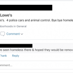 post in Next Door against homeless people