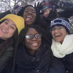 Kayla with boarding school friends in winter