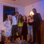Sophia and friends in Halloween costumes