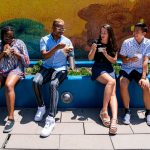 four students eating ice cream