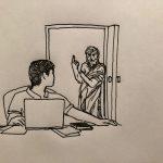 illustration of roommate at door speaking