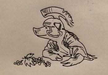 illustration of a pig in gladiator helmet