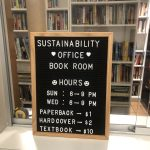sign for Sustainability Office's Book Room