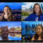 four students on Zoom