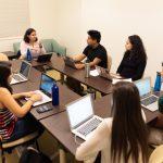 Jennifer Acevedo '19, Sergio A. Ruvalcaba '19, Jovani Azpeitia '19, Yazmin Meza '20, Anayansi Alatorre Romo '20 and Elia Gil Rojas '21 have a group discussion with Psychology Professor Lupe Bacio.