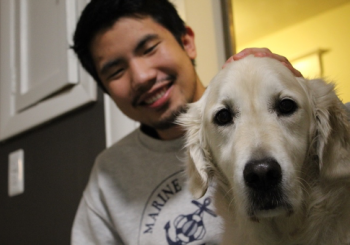 Chris with golden retriever