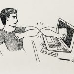 illustration of someone elbow bumping someone else through computer screen