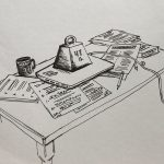 drawing of a 47-lb weight atop a laptop and papers