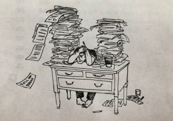 drawing of student at desk surrounded by stacks of papers
