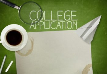 image of college application with coffee cup