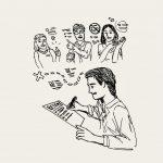 illustration of student working on resume